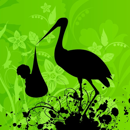 The heron in a beak holds the child. A vector illustration Vector