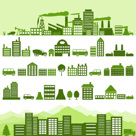 Set of icons of houses. A vector illustration Illustration