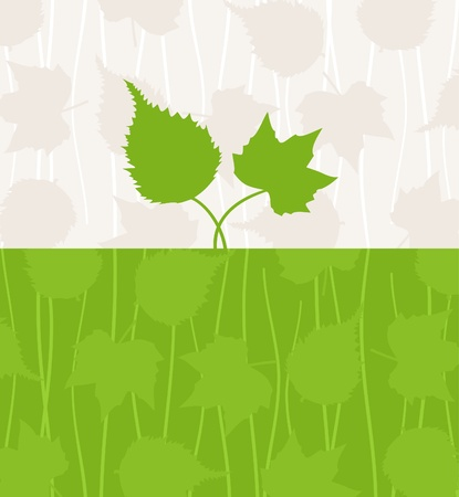Two green leafs grow from the earth. A vector illustration Vector