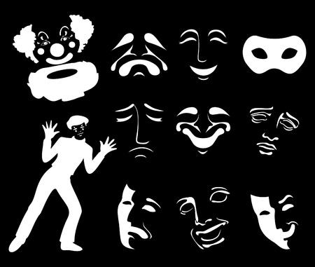 mascaras teatro: Conjunto de iconos de m�scaras de diversi�n y dolor. Una ilustraci�n vectorial Vectores