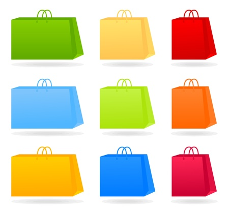 shoping bag: Set of icons of packages for purchases. A vector illustration Illustration