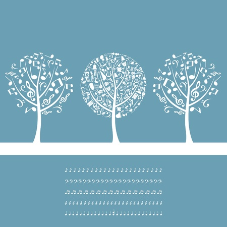 Three musical trees on a blue background. A vector illustration Illustration