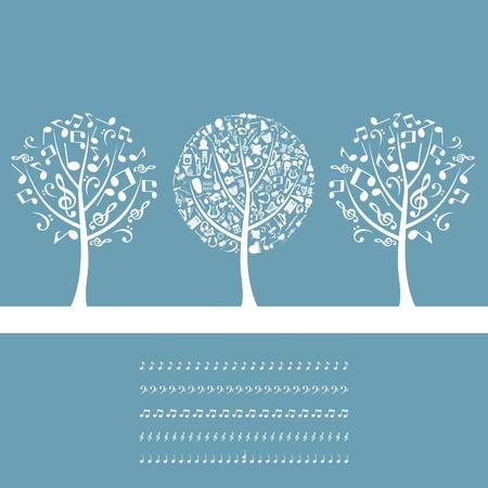 arpa: Tres �rboles musicales sobre un fondo azul. Una ilustraci�n vectorial