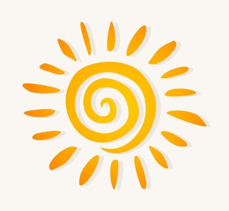 Le soleil dessiné sur un fond blanc. Une illustration vectorielle