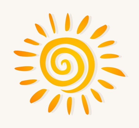 The drawn sun on a white background. A vector illustration