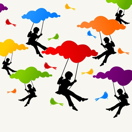 The girl sits on a swing on clouds. A vector illustration Vector