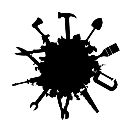 secateurs: Tools stick out of a black stain. A vector illustration