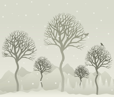 headwaters: Snow in winter wood. A vector illustration