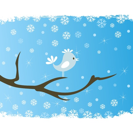 The bird sits on a tree in the winter. An illustration Stock Vector - 9855865