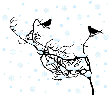 Two birdies sit on a branch in the winter. An illustration Stock Vector - 9855867