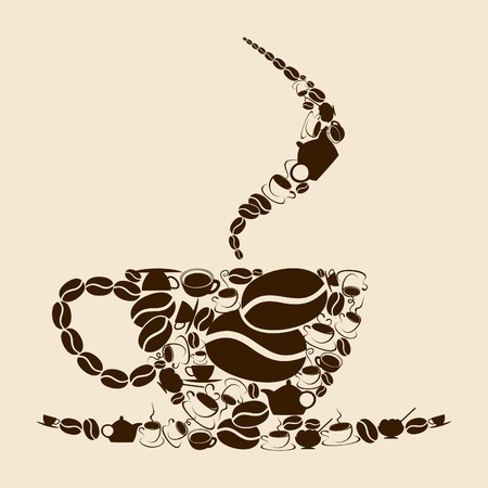 The coffee cup consists of coffee subjects. An illustration Stock Vector - 9859849