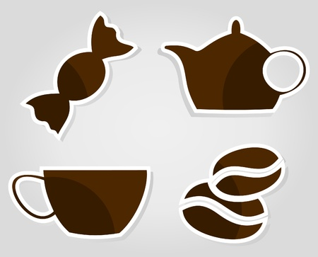 Set of icons on a coffee theme. An illustration Stock Vector - 9814548