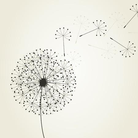 foukání: From a dandelion seeds fly. An illustration Ilustrace
