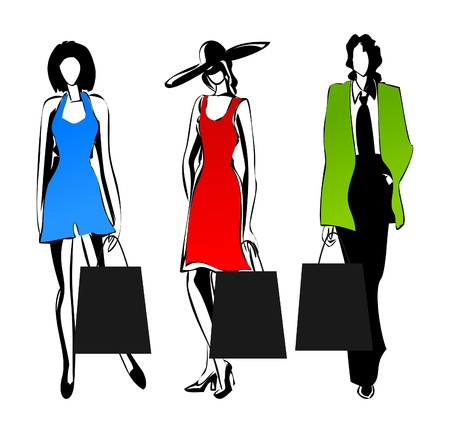 The woman model with a package for purchases. An illustration Vector