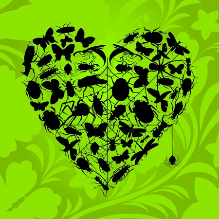 Heart from insects on a green background. An illustration Stock Vector - 9814566