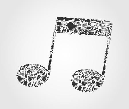 metronome: La nota musicale fatto di strumenti musicali. Una illustrazione vettoriale