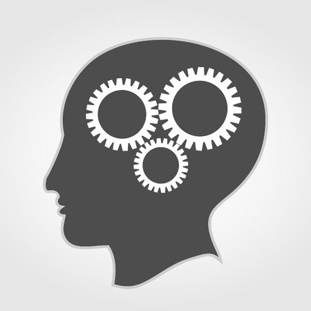 thinking machines: Gear wheels turn in a head. Illustration