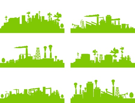 Set of factories and factories. An illustration Stock Vector - 9814582