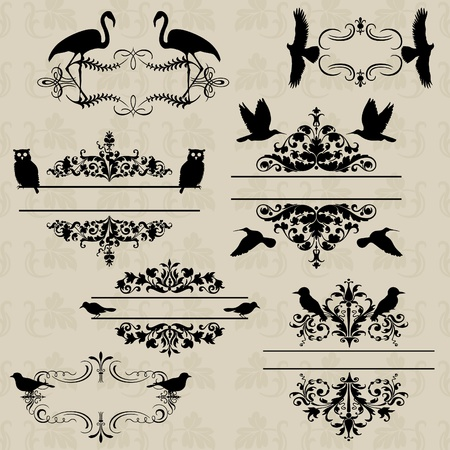 birds scenery: Ornament for design with birds. An illustration Illustration