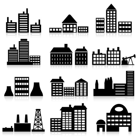 residential district: Set of icons of houses. An illustration