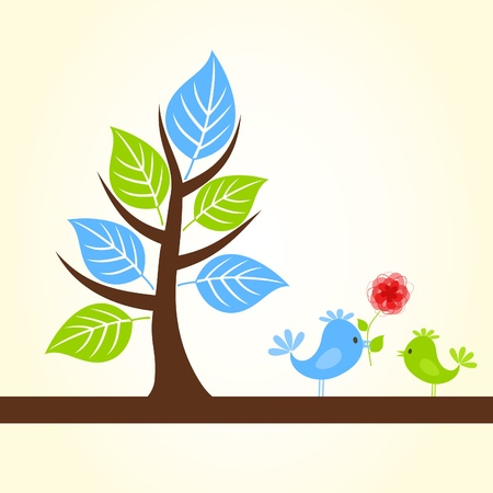 The birdie gives other flower.  Vector