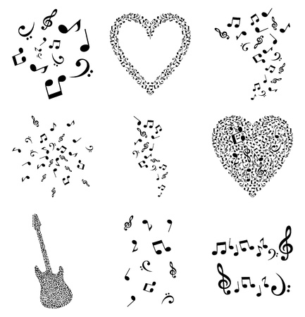 Set of musical plots from notes. An illustration Vector