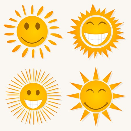 Set of icons of smiles of the sun.