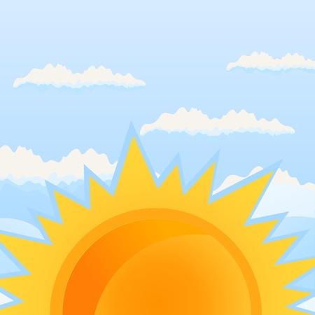 The orange sun against the blue sky. Stock Vector - 9843767