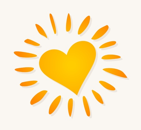 The orange sun in the form of heart. Vector