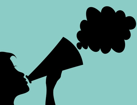 day dreaming: The woman speaks in a megaphone. A vector illustration