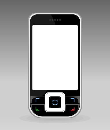 cellular telephone: Black cellular telephone with the white screen.