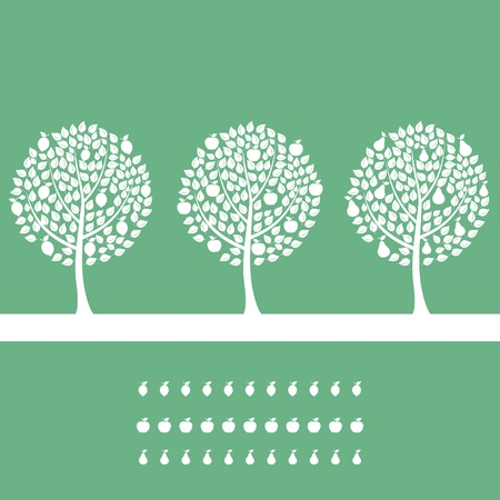 Three trees on a green background. A vector illustration Stock Vector - 9944213