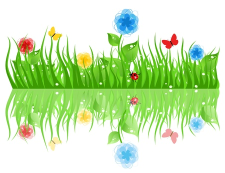 sod: Green grass with flowers. A vector illustration