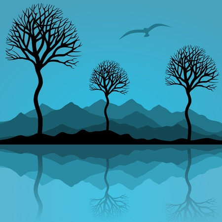 headwaters: Trees are reflected in lake. A vector illustration Illustration