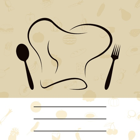 cook cap: Cap of the cook with a plug and a spoon. A vector illustration Illustration