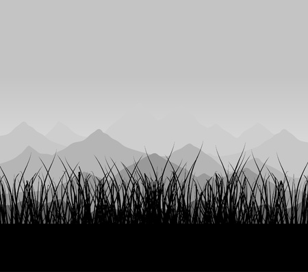 headwaters: Mountains in a grey fog. A vector illustration Illustration