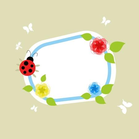 On a framework the ladybird creeps.   Stock Vector - 9932175