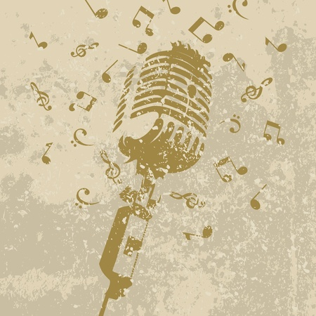 retro music: Retro a microphone on a grey background. A vector illustration Illustration