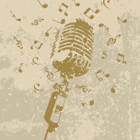 vintage grunge image: Retro di un microfono su uno sfondo grigio. Una illustrazione vettoriale