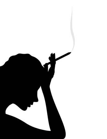 cigarette smoke: The girl thinks and smokes a cigarette. A vector illustration