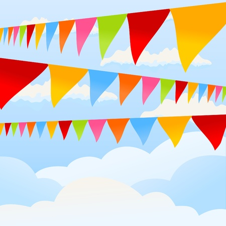 Flags of different colours develop in the sky. A vector illustration Stock Vector - 9945991