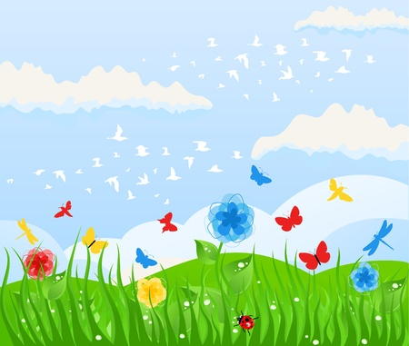 Spring solar background and grass. A vector illustration Vector