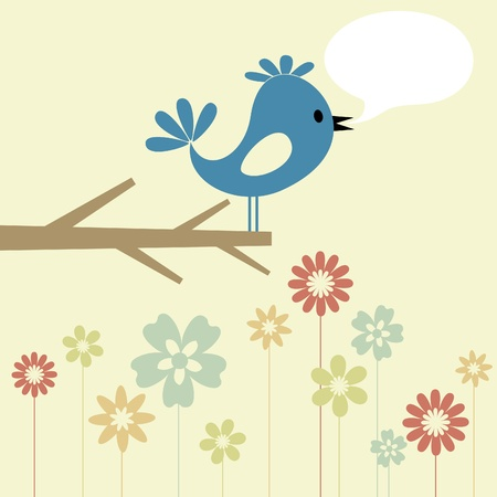 The blue birdie on a branch speaks.