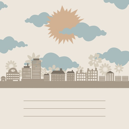 The sun on a city about flowers. Vector