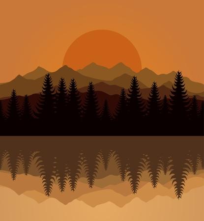 Sunset on mountain lake.