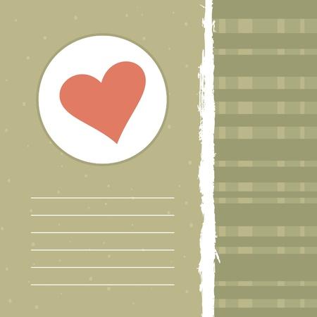 the first love: Retro un marco con coraz�n de amor. Una ilustraci�n vectorial