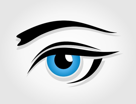 photographic effects: Dark blue female eye. A vector illustration Illustration