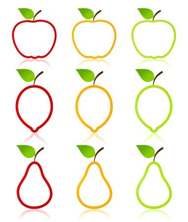 pera: Icono de la fruta una manzana, una pera y un lim�n. Una ilustraci�n vectorial