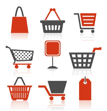 Set of icons on a theme sale and shop. A vector illustration Vector