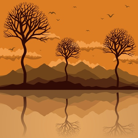 The seagull flies over mountain lake. A vector illustration Stock Vector - 10179129